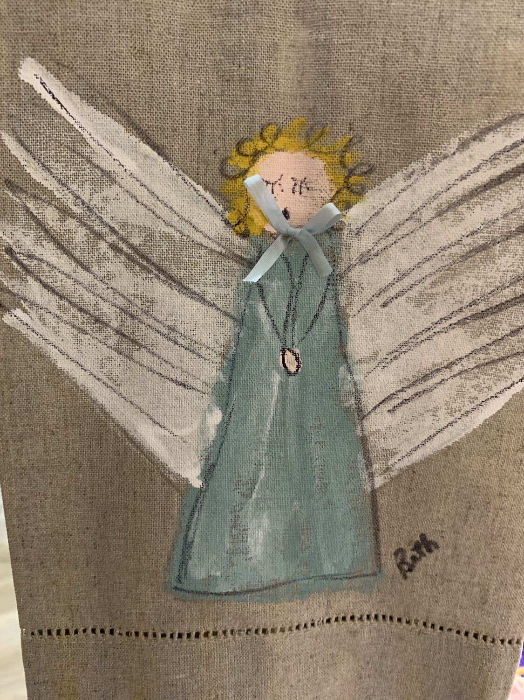 Linen Painted Angel Hand-towel (burlap)