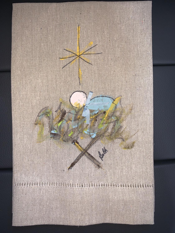 Baby Jesus Hand Painted Linen Towel (Oatmeal)