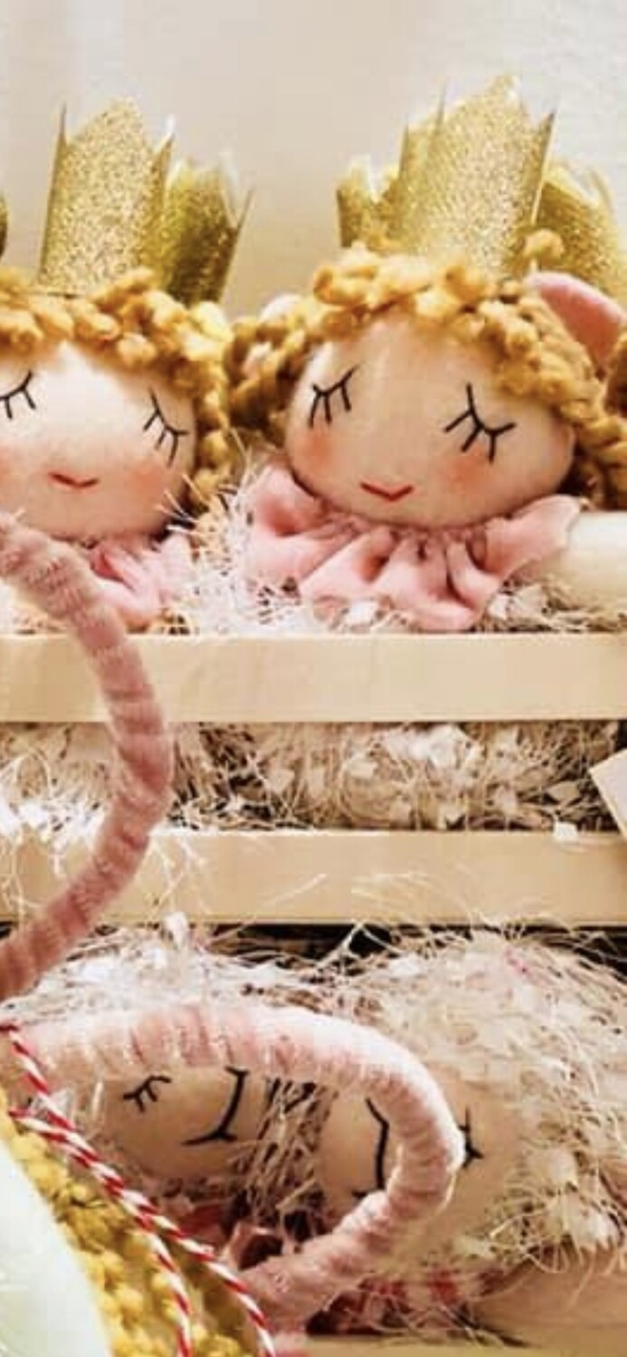 Miniature Pink and White Plush Angel Ornaments