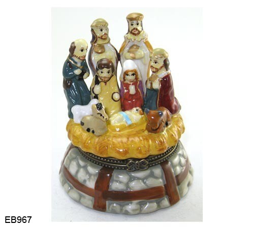 Porcelain Painted Nativity Trinket Box