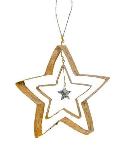 Star Within a Star Gold Ornament