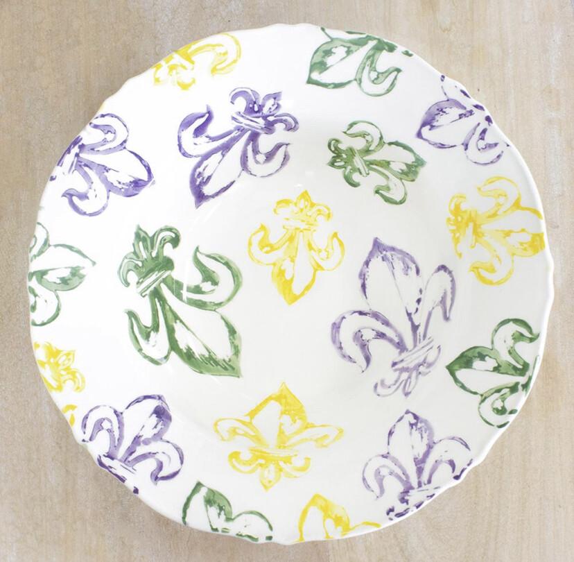 The Royal Standard Watercolor Mardi Gras Fleur de Lis Serving Bowl