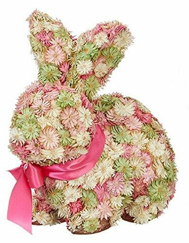"9.75"" Floral Rabbit Decor"