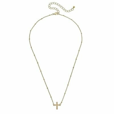 Hannah Necklace in Worn Gold Cross
