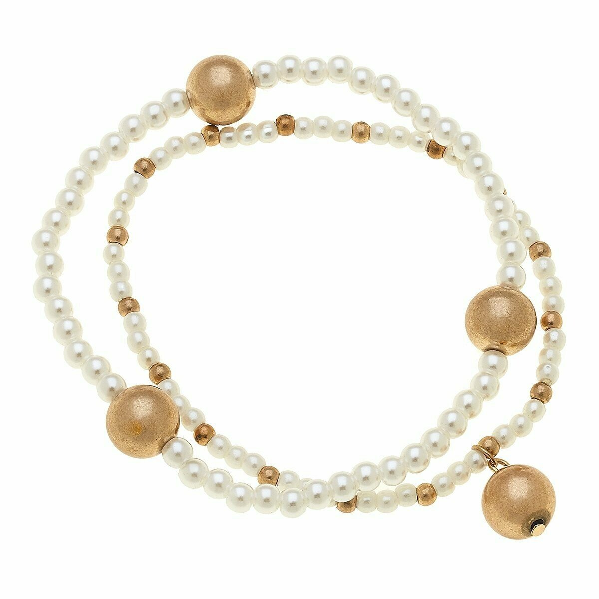 Layered Pearl Bracelets In Worn Gold Spheres (Set of 2)