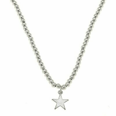 Star Ball Bead Necklace silver