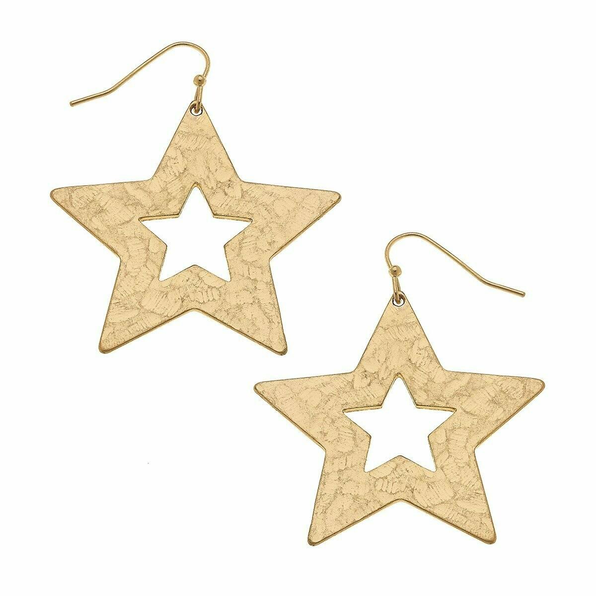 Nova Drop Earrings In Worn Gold