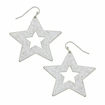 Nova Drop Earrings In Worn Silver