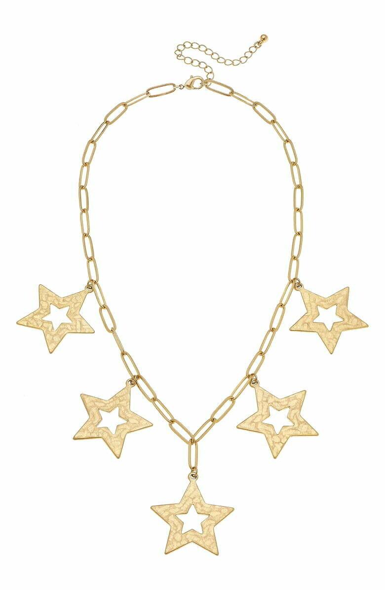 Nova Statement Necklace In Worn Gold