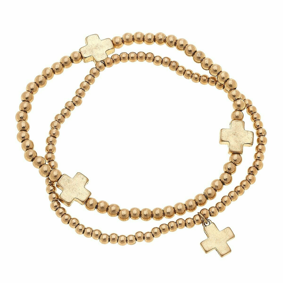 Aria Layered Ball Bead Bracelets In Worn Gold Crosses (Set of 2)