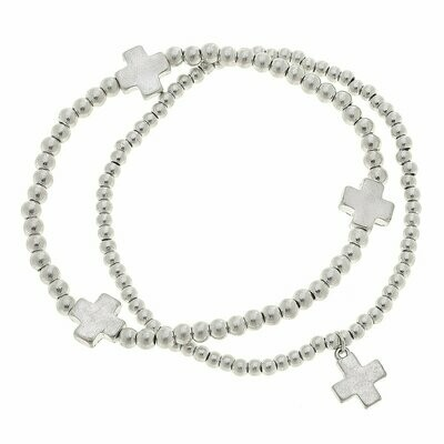 Layered Ball Bead Bracelets In Worn Silver Crosses (Set of 2)