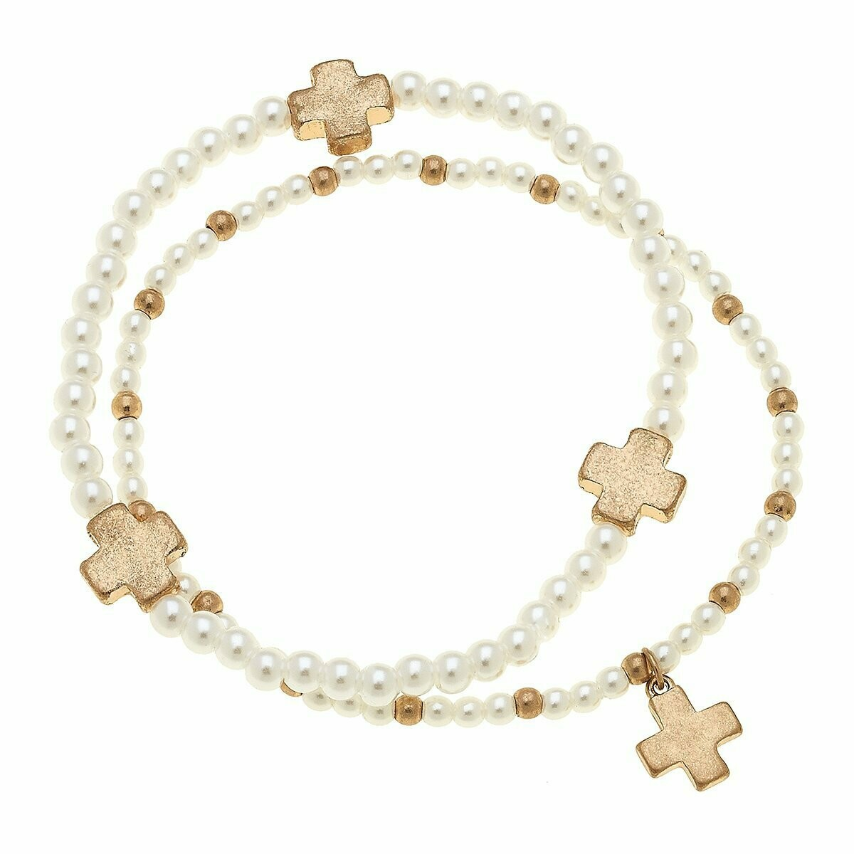 Aria Layered Pearl Bracelets In Worn Gold Crosses (Set of 2)