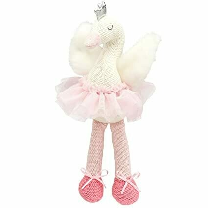 "Elegant Baby knit toy, 15"" pink and white swan"