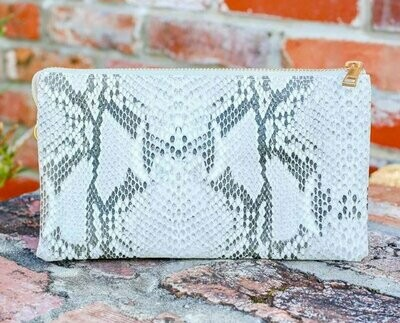 Snake Shimmer white and silver crossbody