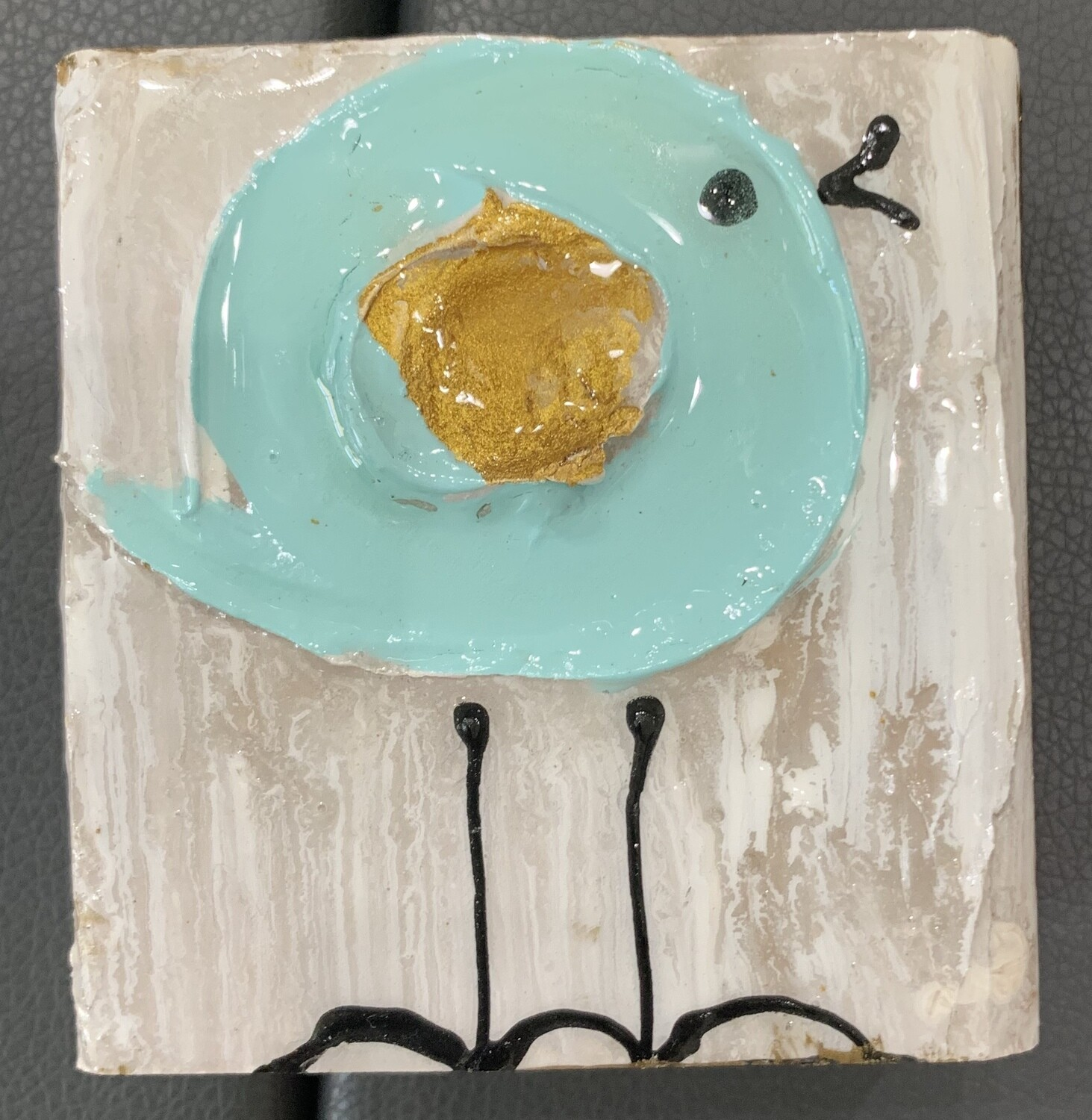 Susan Hood 4x4 Little Blue Bird Art