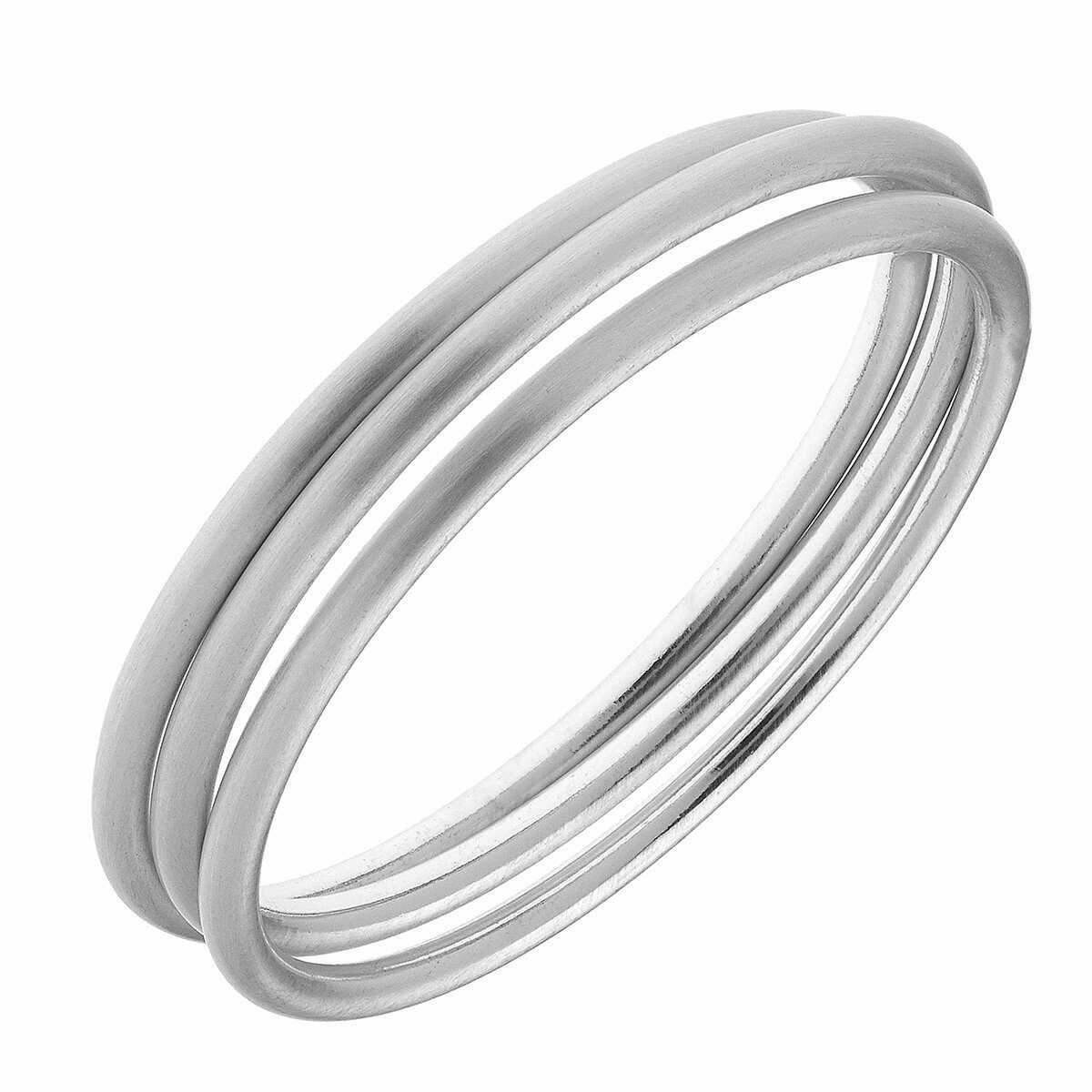 Set of 3 Silver Satin Bangles
