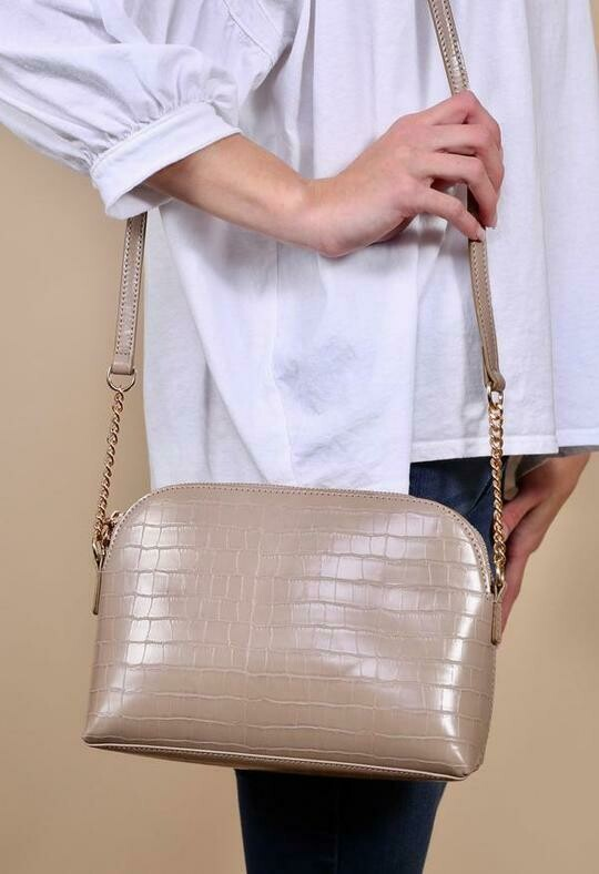 Tan Crocodile Crossbody
