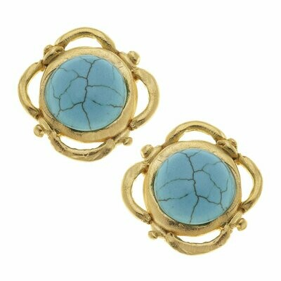 SCROLL TURQUOISE STUDS