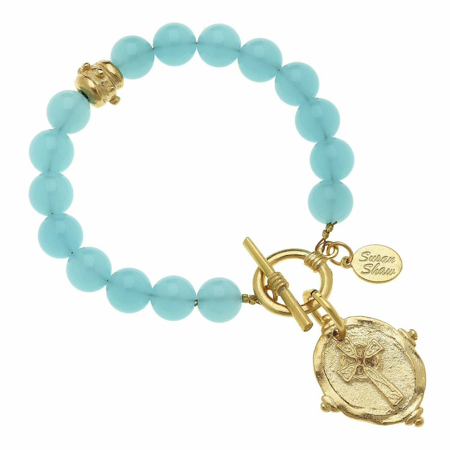 CROSS STONE TOGGLE BRACELET - Turquoise Quartz
