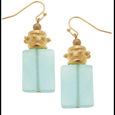 Gold & Semi-Precious Aqua Quartz Earrings