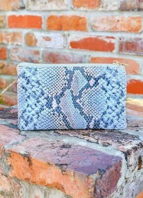 Snake Sherbet Blue Crossbody/Wristlet