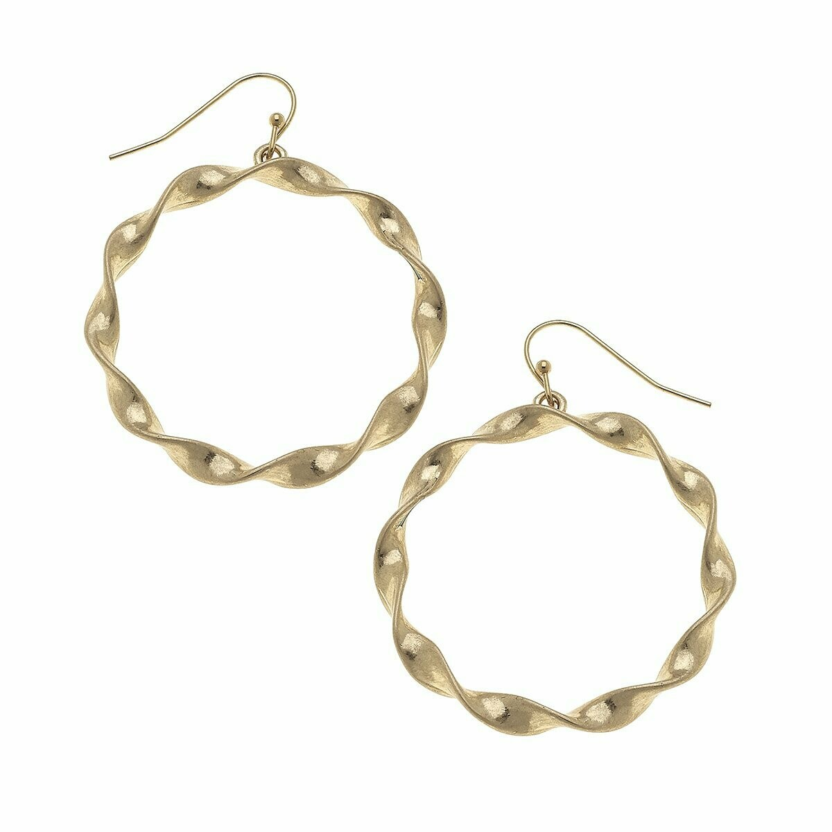 Circle Earrings in Worn Gold