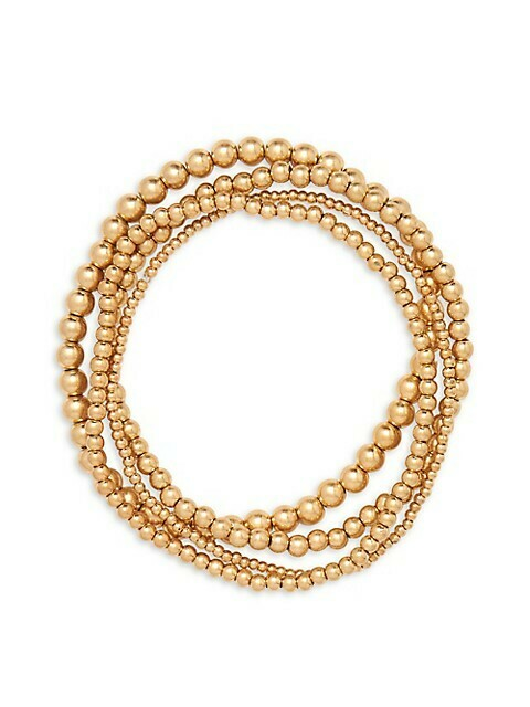 Layered Bead Ball Bracelet in worn gold