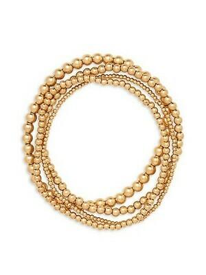 Layered Bead Ball Bracelet in worn gold