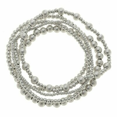 Layered Ball Bracelets in Worn Silver - Set of 3