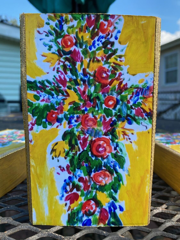 Tim Trapolin 4x6 Decoupage Trinity Cross Wood Block Art