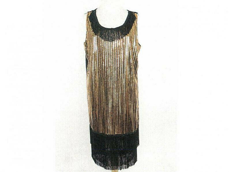 Black and Gold Sequin Saints Dress Large