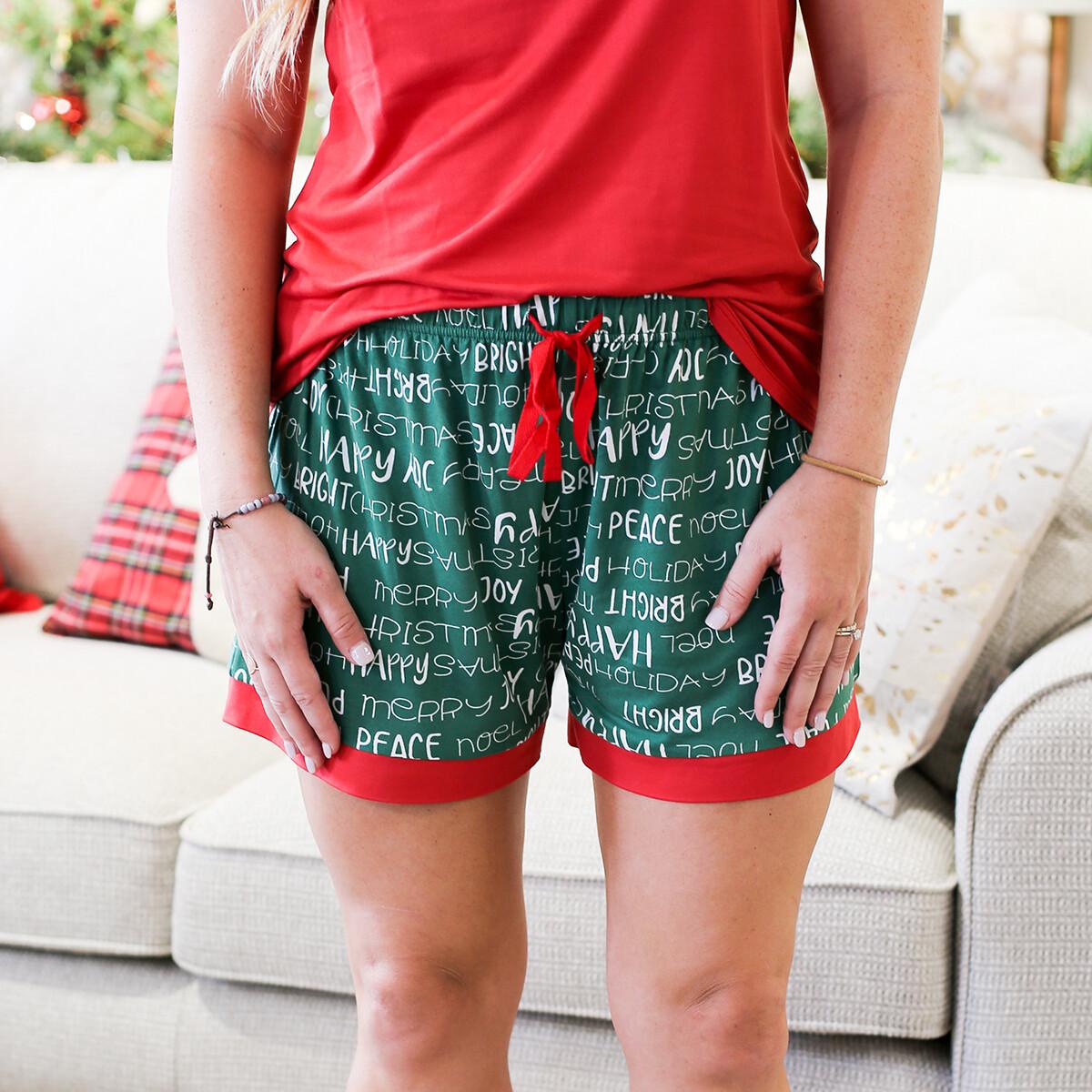 Small Adult Holiday Cheer PJ shorts