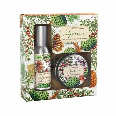 Michel Design Works - Spruce Spray and Candle Travel Kit