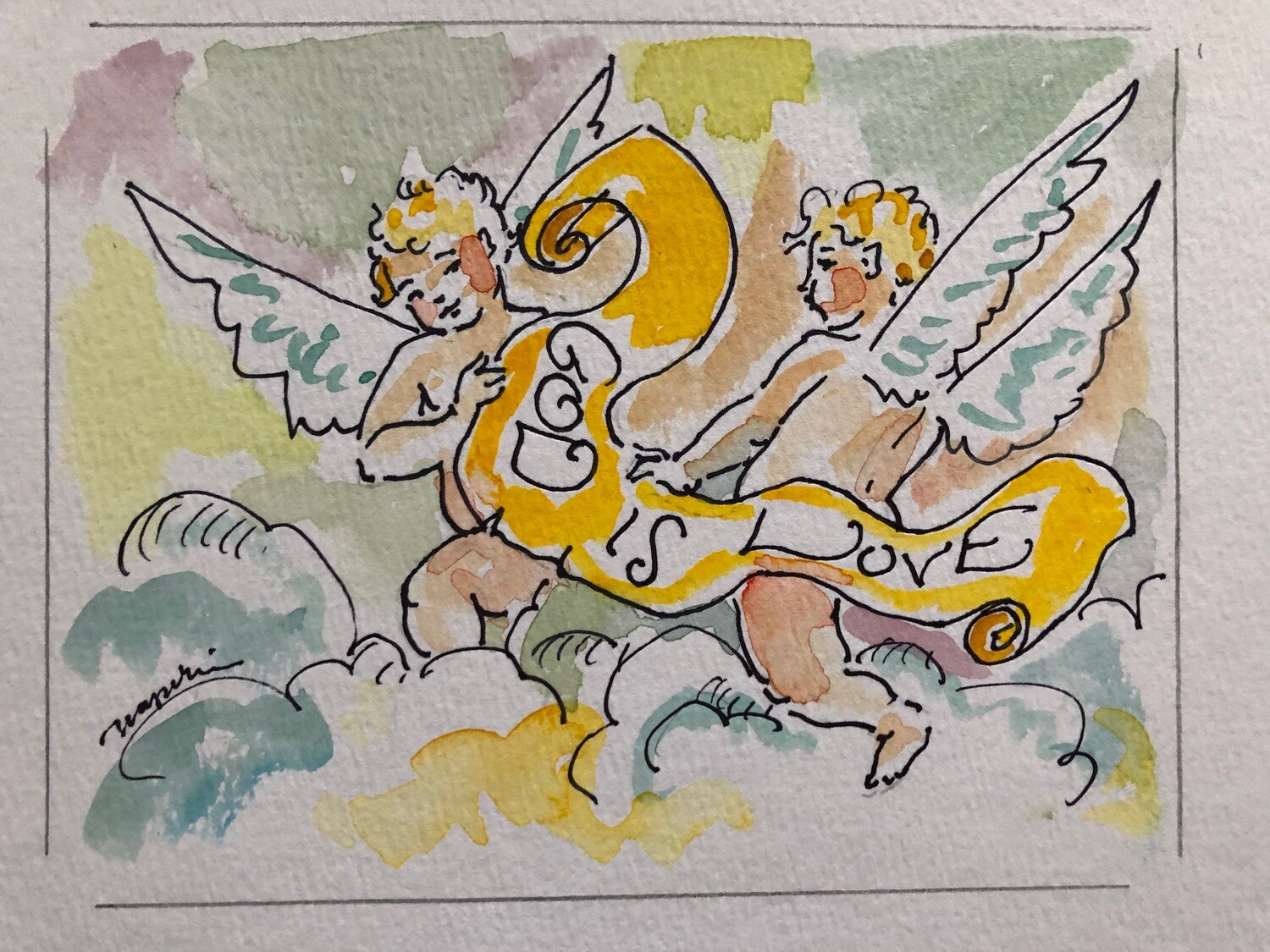 Tim Trapolin God is Love Cherub Notecards (Pack of 10)