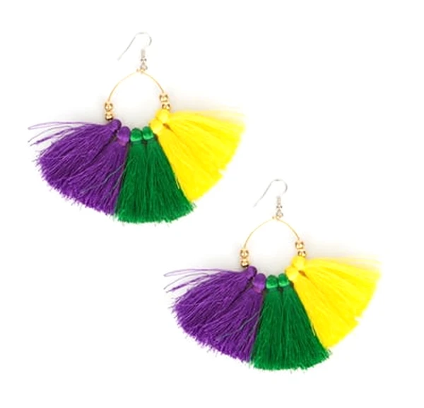 "1.75"" Purple, Green, and Gold Tassel Earrings"
