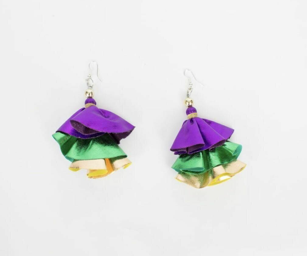 Mardi Gras Triple Layer Earrings