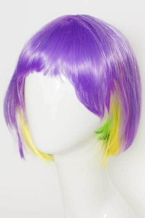 Purple, Green, and Gold Bob Wig