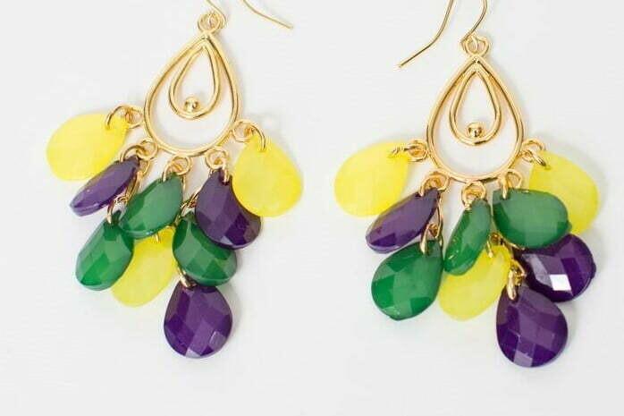 Mardi Gras Oval Dangle Earrings