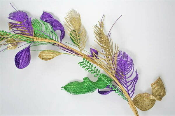 6' Purple, Green, and Gold Fancy Garland