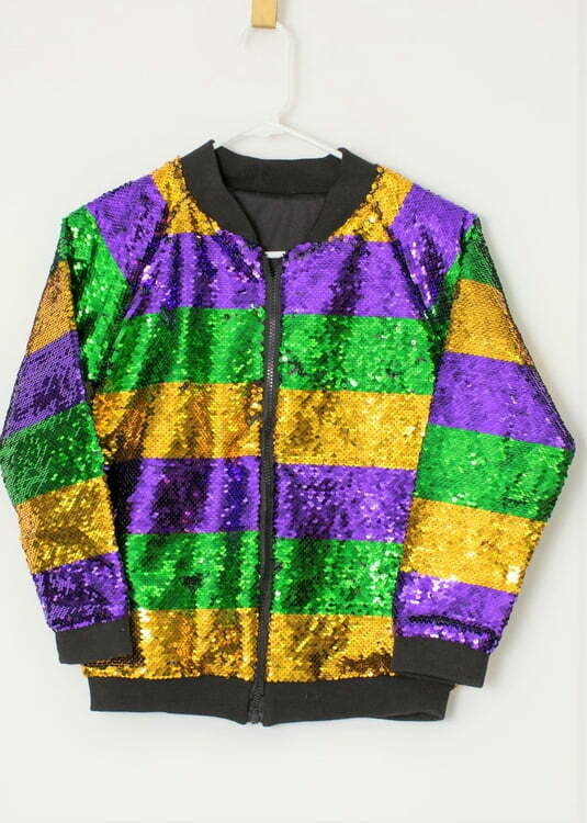 Purple, Green, and Gold Sequin Bomber M/L