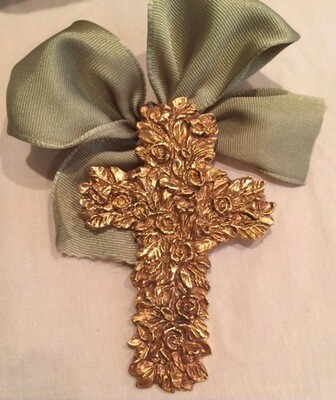 "2.75"" India Stewart  Tim Trapolin Easter Cross Ornament (gold)"