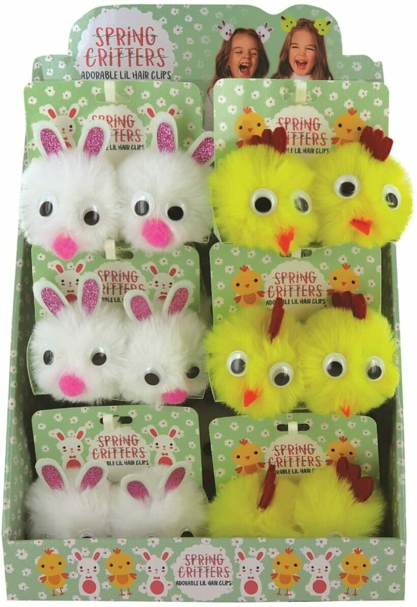 Easter Puff Hair Clips (Chick)