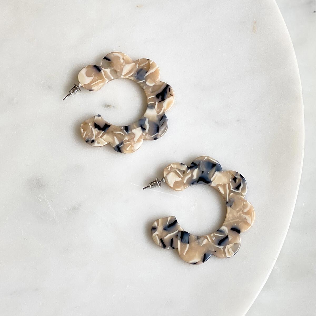 Kelly Acetate Flower Hoop Earrings in Cream