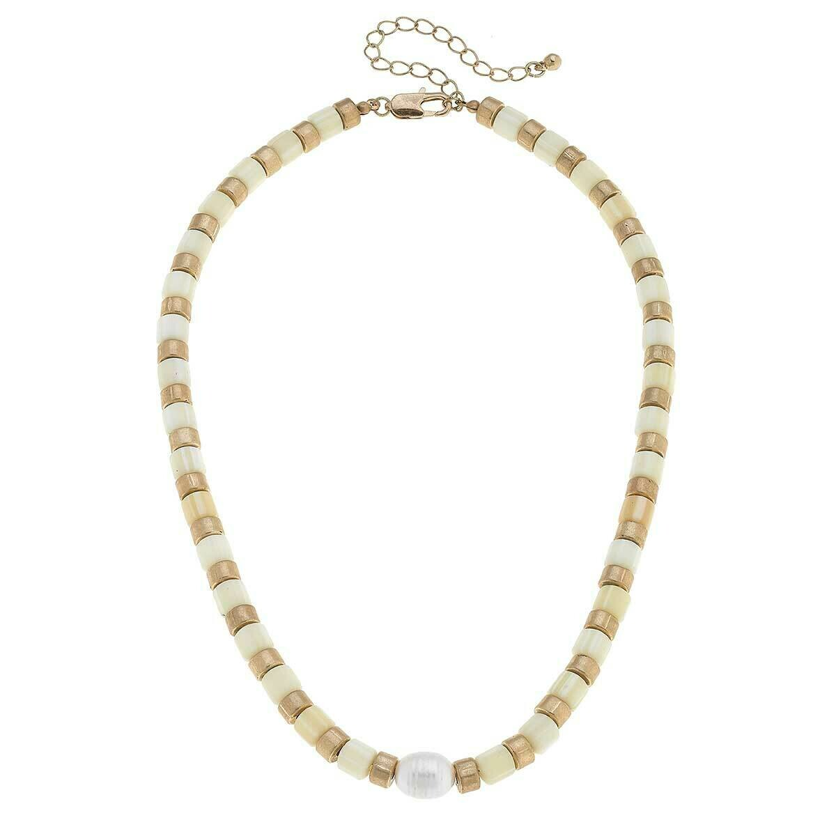 Freshwater Pearl Beaded Necklace in Ivory