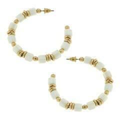 Beaded Hoop Earrings in Ivory