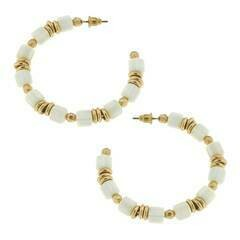 Beaded Hoop Earrings in Ivory