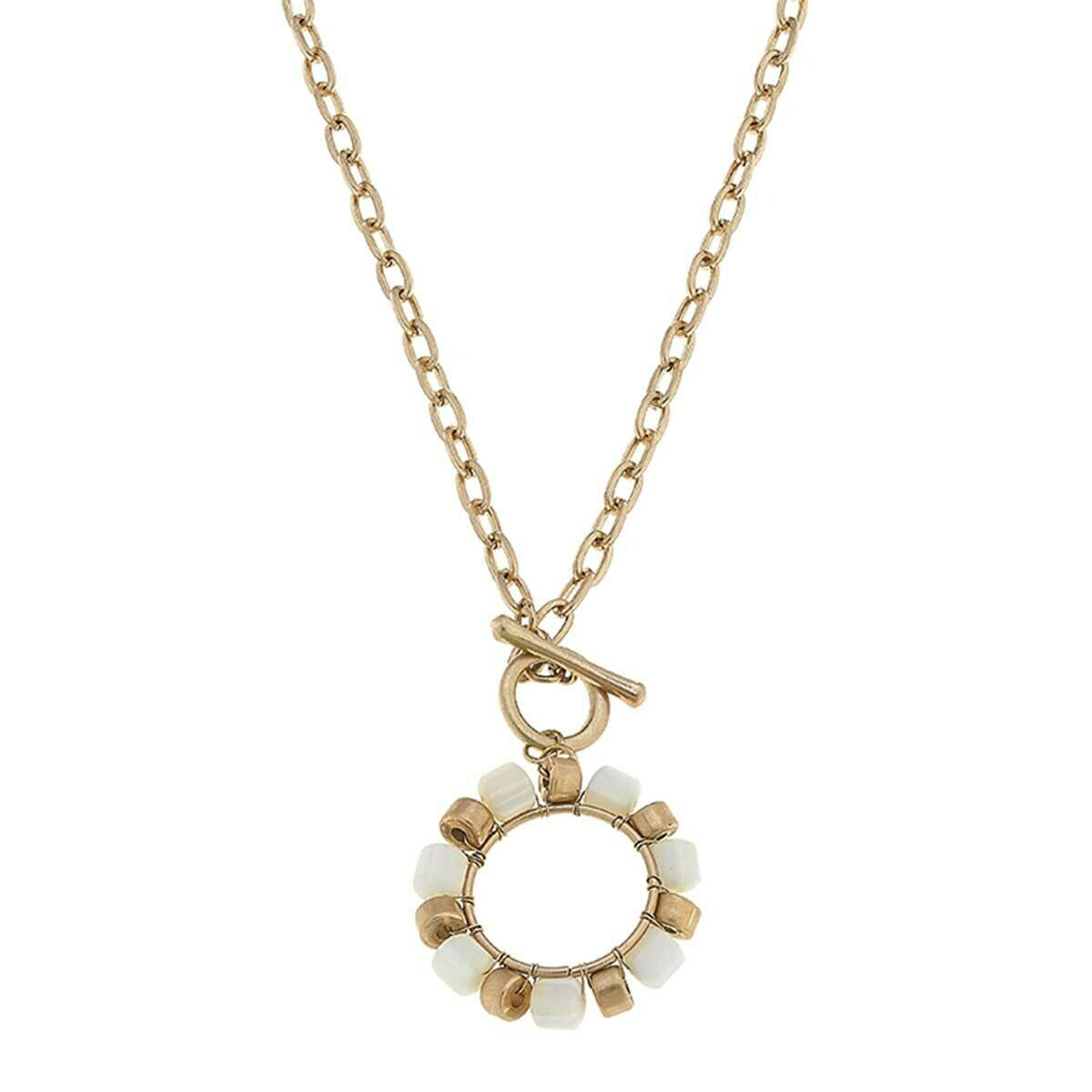 Beaded T-Bar Necklace in Ivory