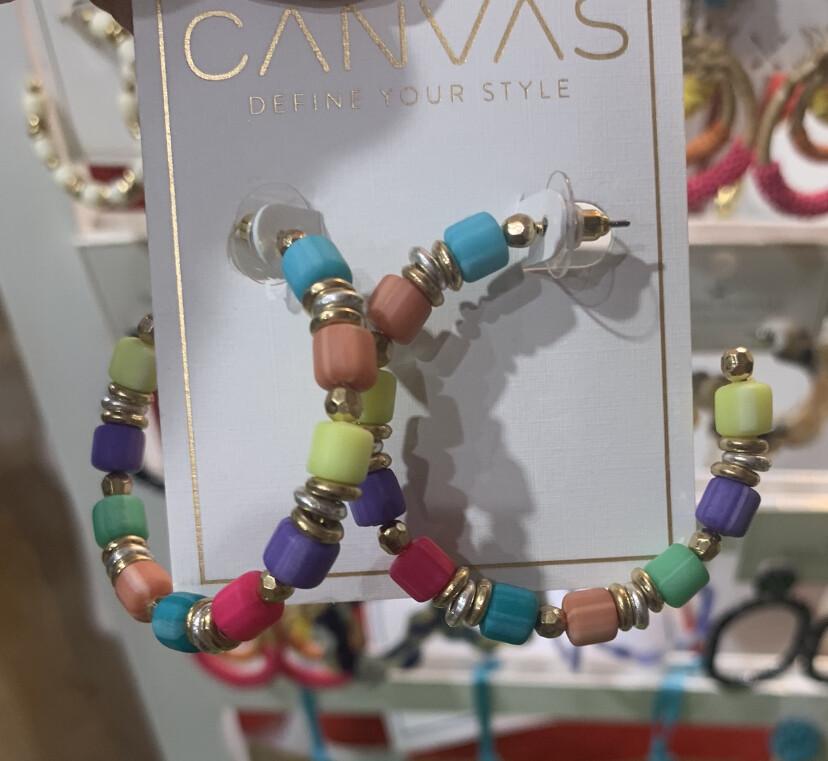 Beaded Hoop Earrings Multi