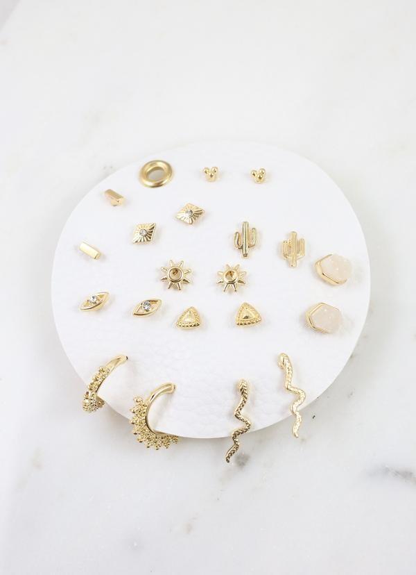 10 Piece Earring Set Gold