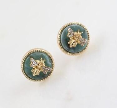 Caroline Hill Bee Stone Jade Stud Earrings